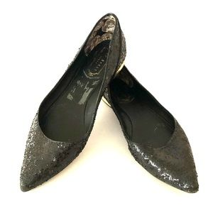 Ted Baker size 8 black sparkle pointed toe flats